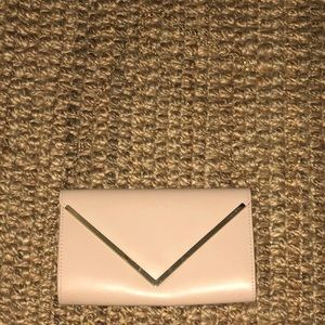 Aldo nude clutch with gold chain